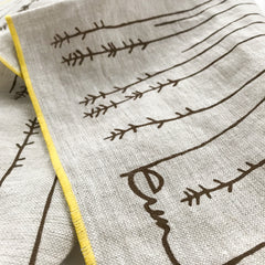TWIGS LINEN TEA TOWEL IN BROWN ON OATMEAL