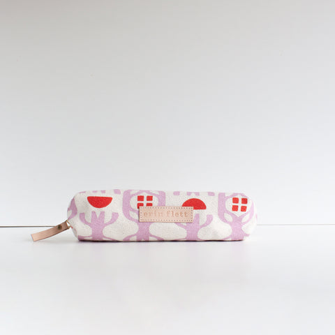BERRY STRIPE AND LARGE DOT ZIPPER BAG SET