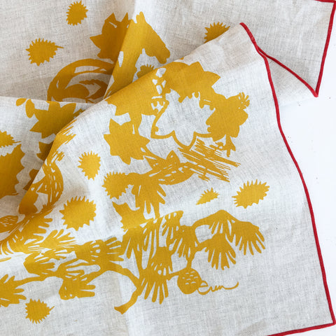 DEEP WOODS LINEN TEA TOWEL IN GOLD ON OATMEAL