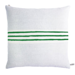 KELLY GREEN 3 LINE BAND LINEN PILLOW