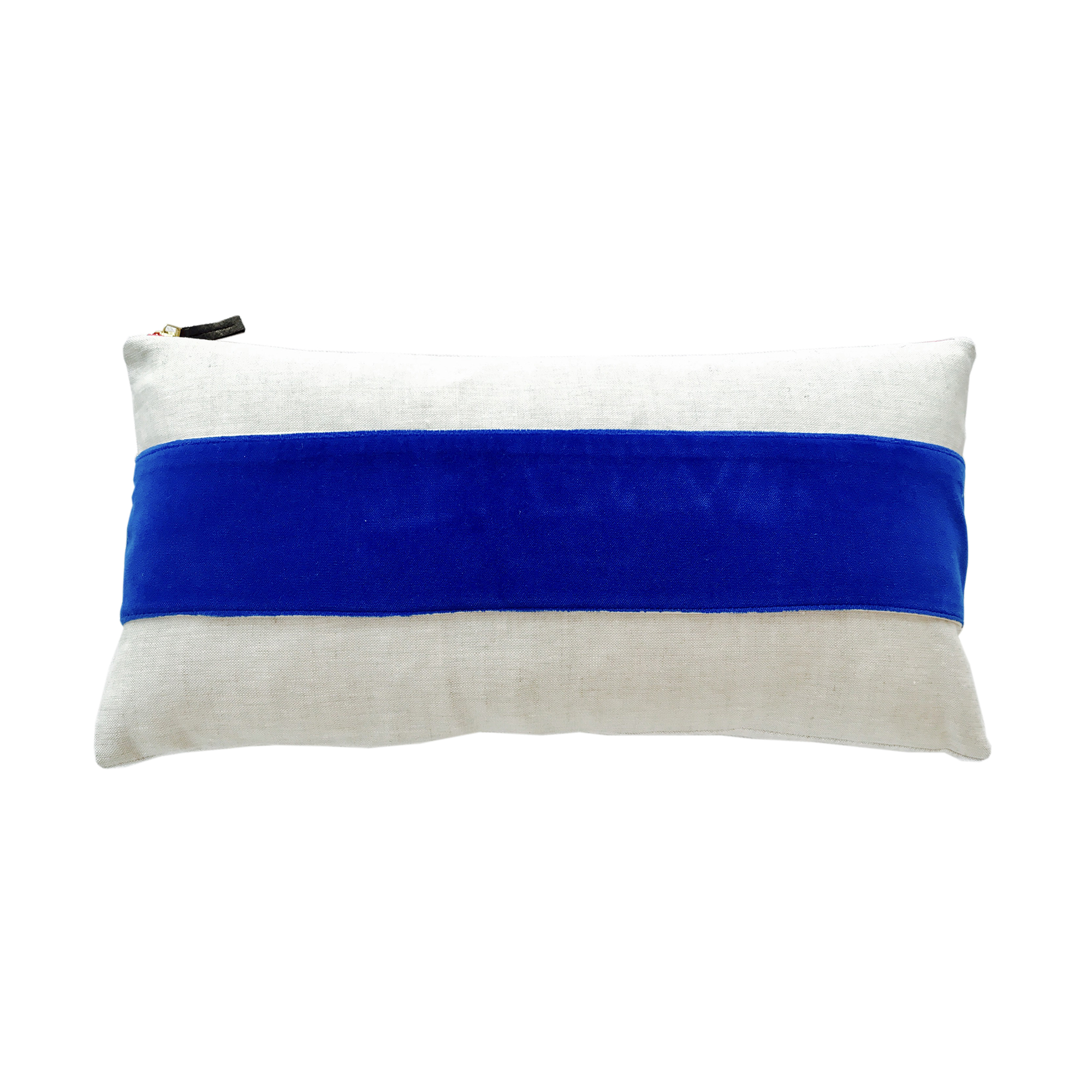 ROYAL VELVET BAND LINEN PILLOW COVER