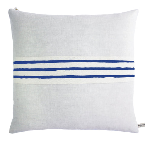 3 LINE NAVY BAND LINEN PILLOW COVER
