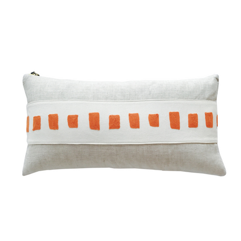 MANGO SQUARES EMBROIDERY BAND LINEN PILLOW COVER