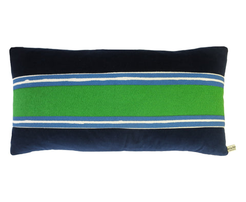 NAVY VELVET PILLOW COVER WITH GREEN BAND