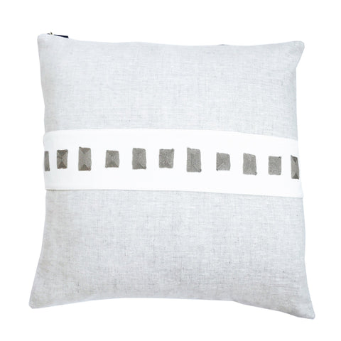 OATMEAL SQUARES EMBROIDERY BAND LINEN PILLOW
