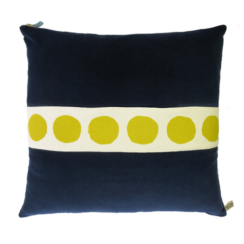 NAVY VELVET PILLOW COVER WITH GOLDENROD DOT BAND