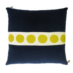NAVY VELVET PILLOW WITH GOLDENROD DOT BAND
