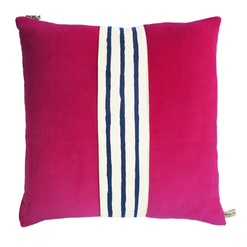 BERRY VELVET PILLOW COVER WITH NAVY BAND