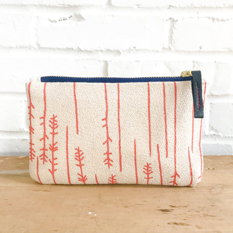 CORAL TWIGS CARD WALLET ZIPPER BAG