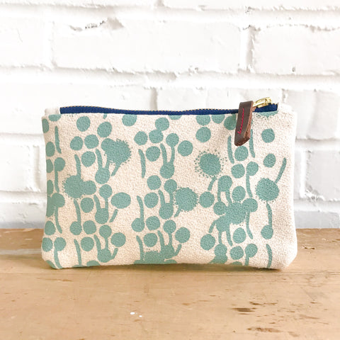 ROBINS EGG BLUE BERRIES CARD WALLET ZIPPER BAG