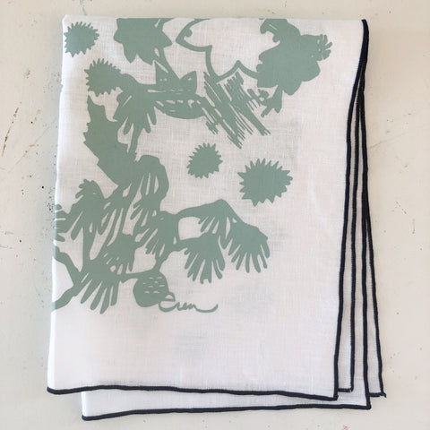 DEEP WOODS LINEN TEA TOWEL IN ROBINS EGG BLUE ON WHITE