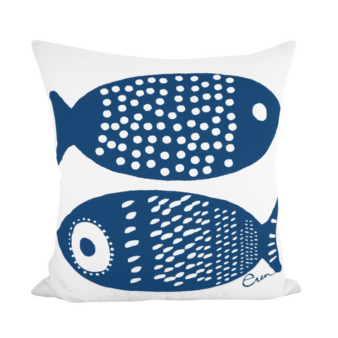 DOUBLE TUNA PILLOW COVER IN NAVY