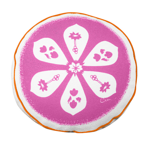 BLOSSOM ROUND PILLOW IN HOT PINK
