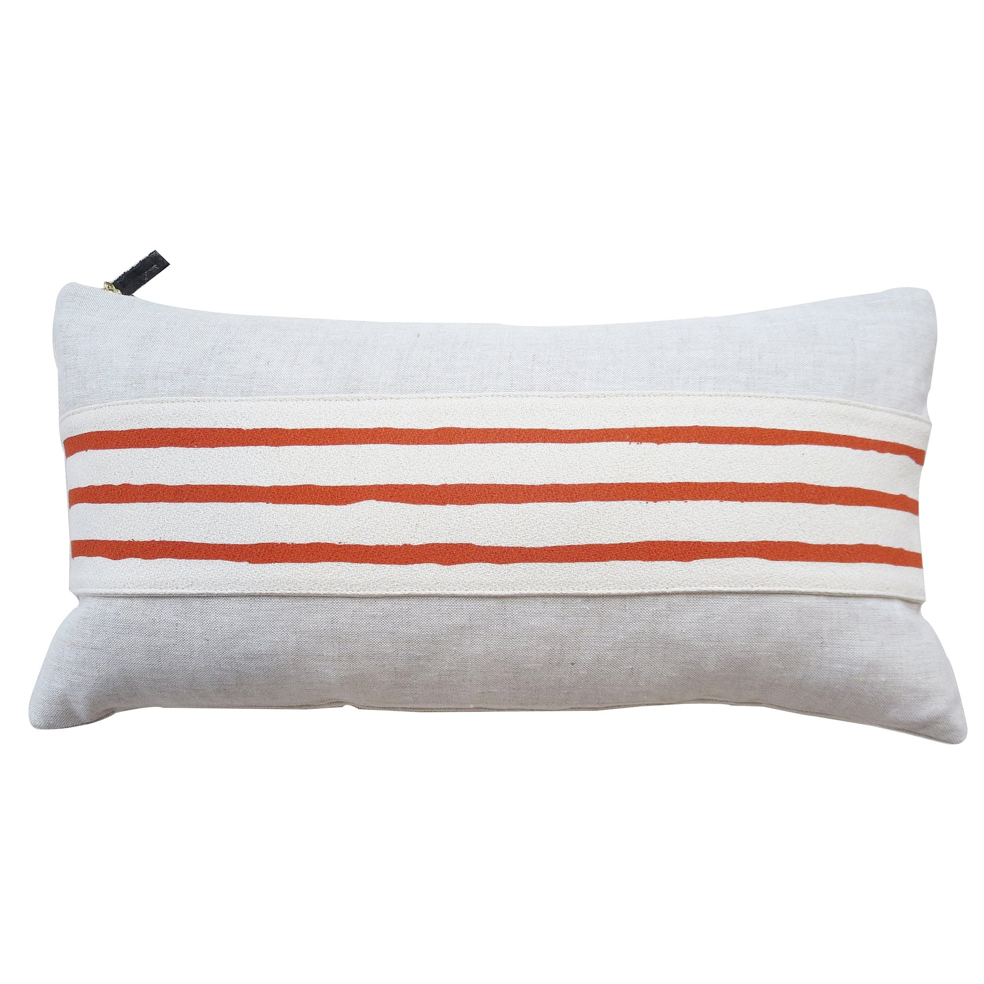 3 LINE TOMATO BAND LINEN PILLOW COVER