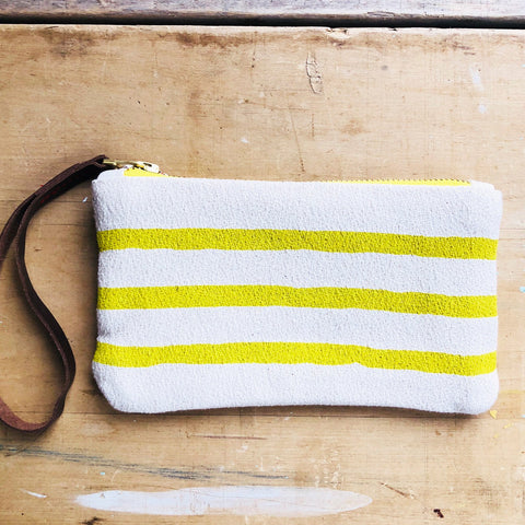 GOLDEN ROD 3 LINES WRISTLET ZIPPER BAG
