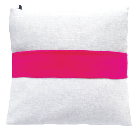 BERRY VELVET BAND LINEN PILLOW COVER