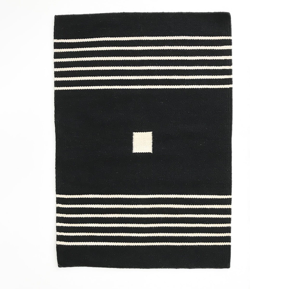 SHIPS NOW! BLACK FLAT WEAVE RUG