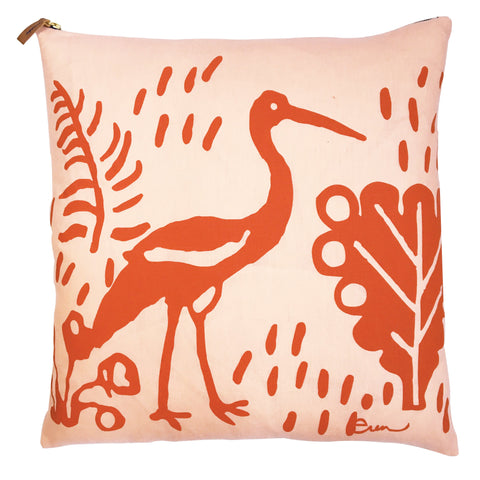 TOMATO CRANE ON BLUSH LINEN PILLOW
