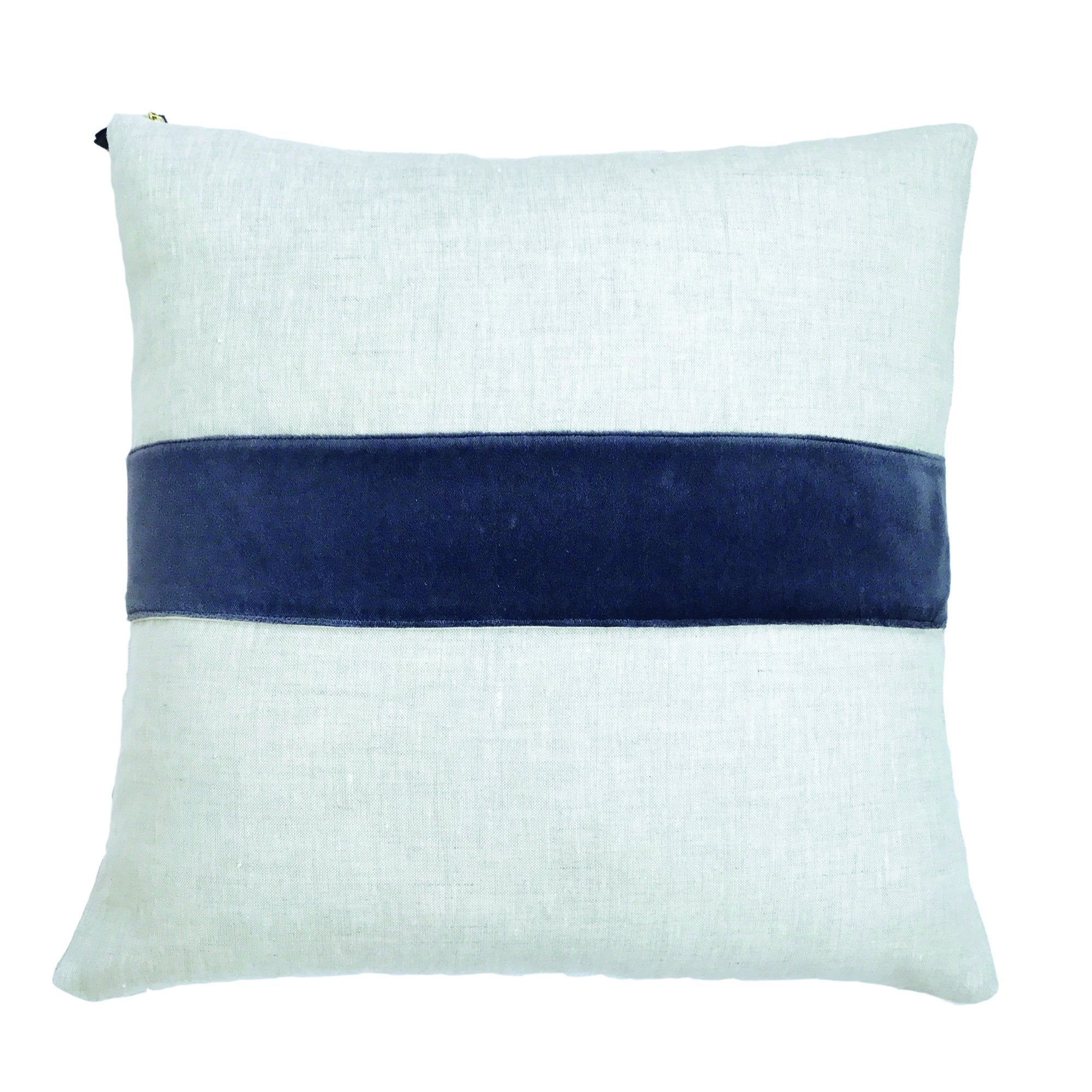 CHARCOAL VELVET BAND LINEN PILLOW