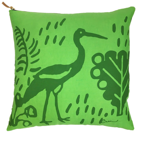CRANE KELLY ON BRIGHT GREEN LINEN PILLOW COVER