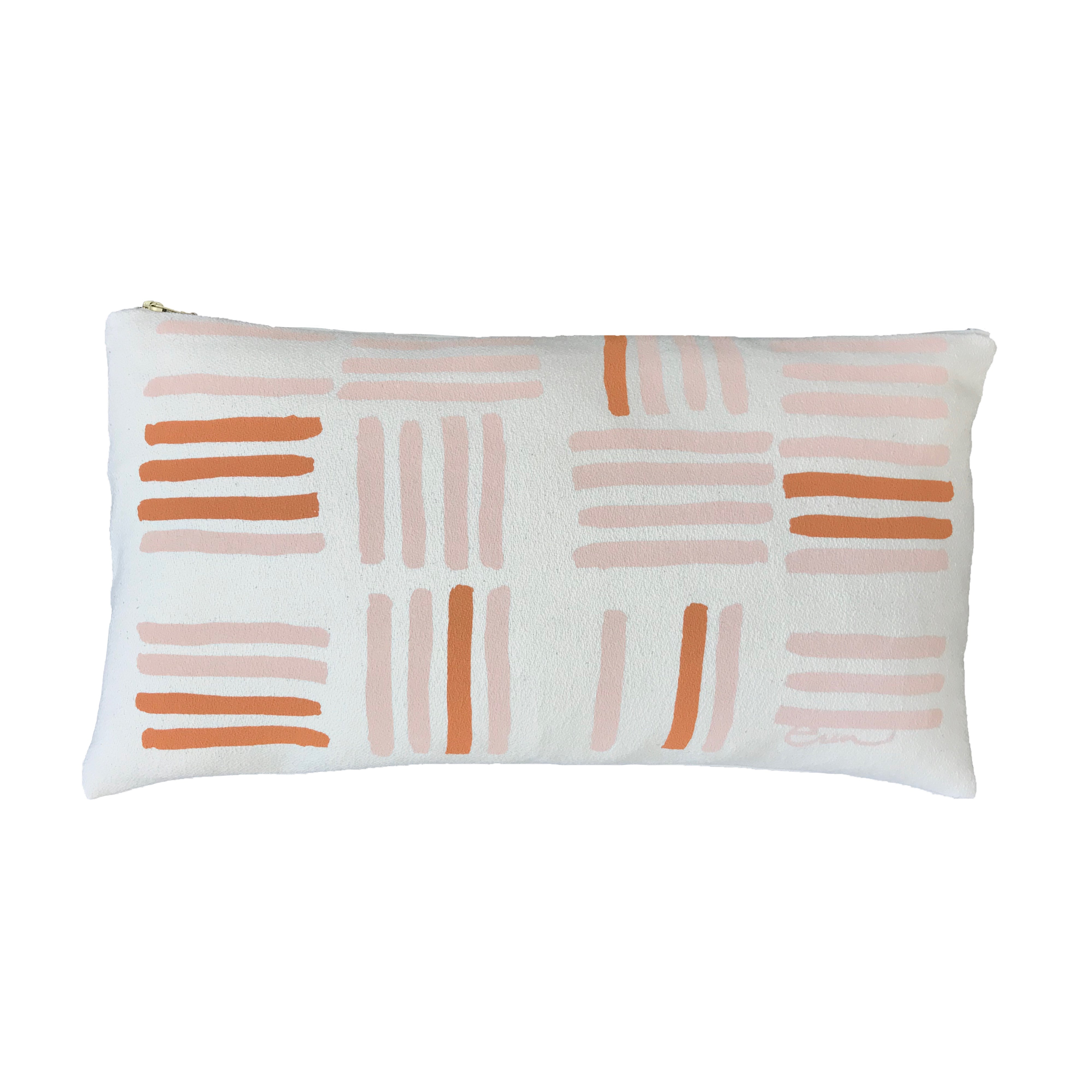 DUSTY PINK GRID PILLOW