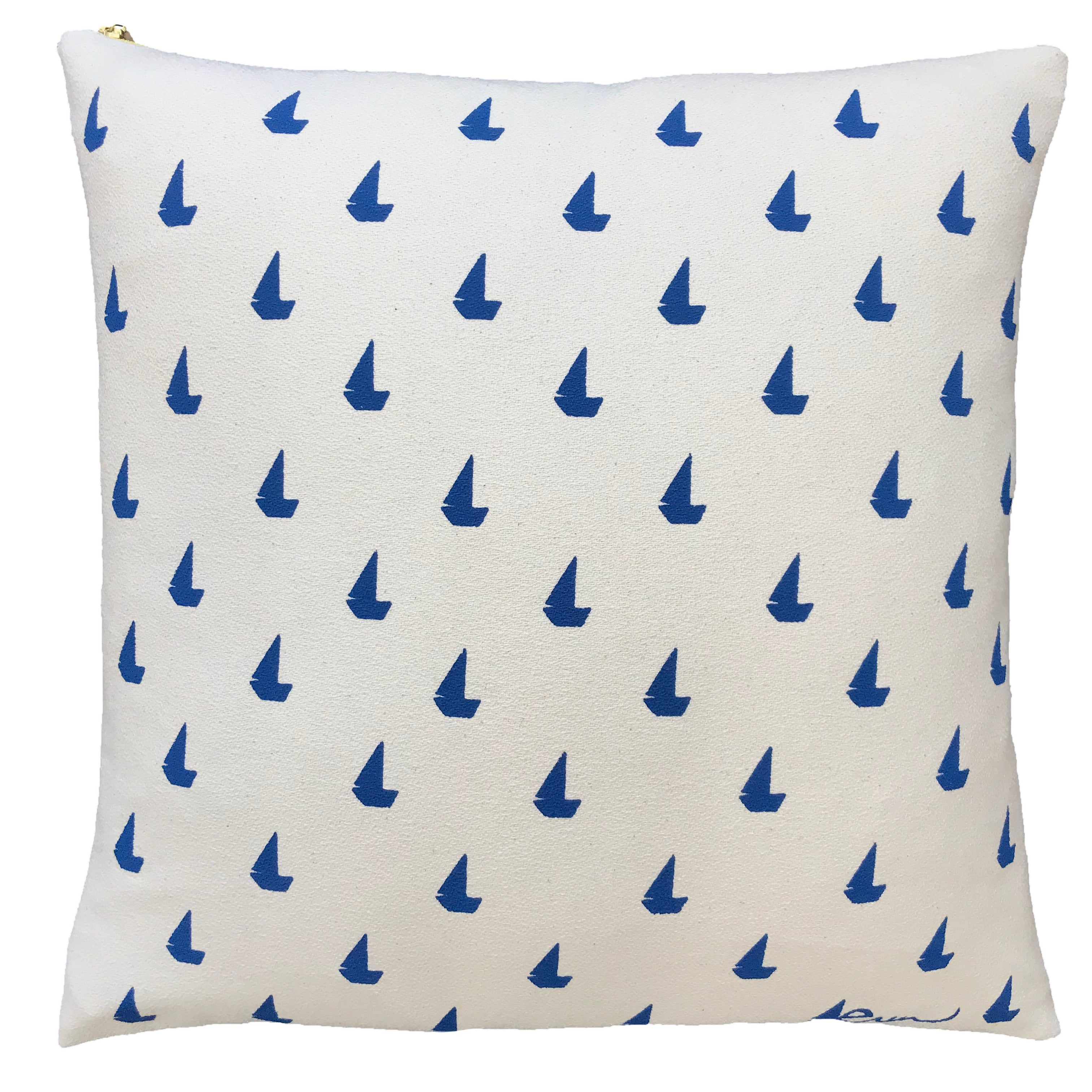 SHIPS NOW! ROYAL SAILBOATS PILLOW COVER