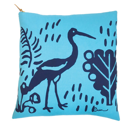 NAVY CRANE ON BRIGHT BLUE LINEN PILLOW