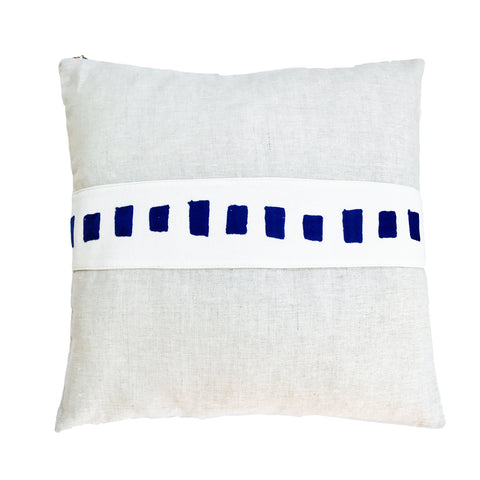 SQUARES EMBROIDERY BAND LINEN PILLOW COVER