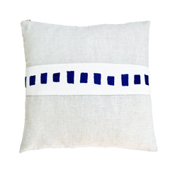 NAVY SQUARES EMBROIDERY BAND LINEN PILLOW
