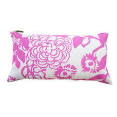 HOT PINK FLORAL GARDEN LINEN PILLOW
