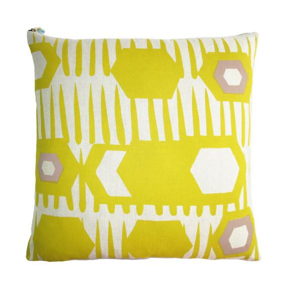 HEXAGON PILLOW COVER IN GOLDEN ROD
