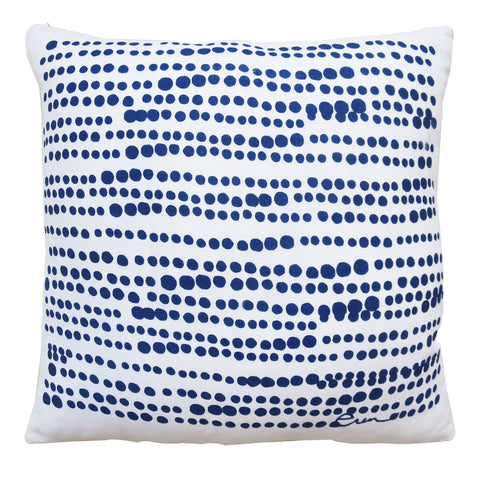 HILARY LINEN PILLOW COVER IN NAVY ON WHITE