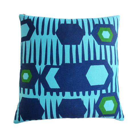 Linen-Decorative-Pillow-White-Hexagon-Cobalt