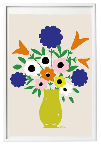 YELLOW VASE SPRING FLOWERS GICLEE ART PRINT