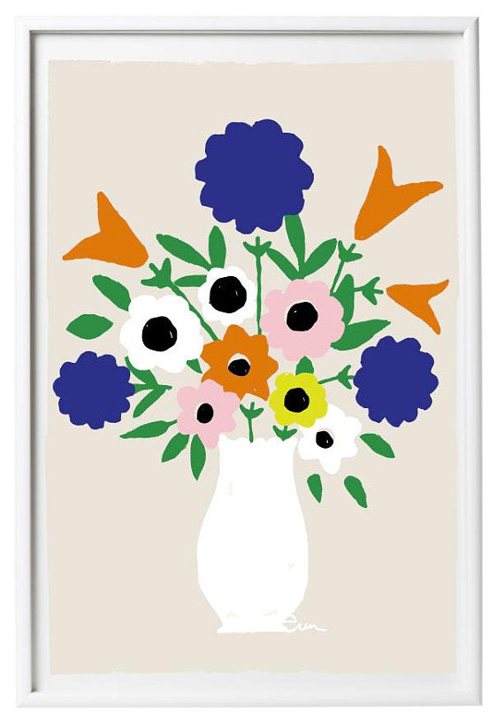 SHIPS NOW! WHITE VASE SPRING FLOWERS GICLEE ART PRINT
