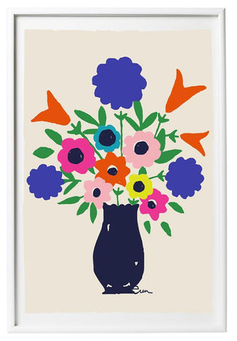SHIPS NOW! NAVY VASE SPRING FLOWERS GICLEE ART PRINT