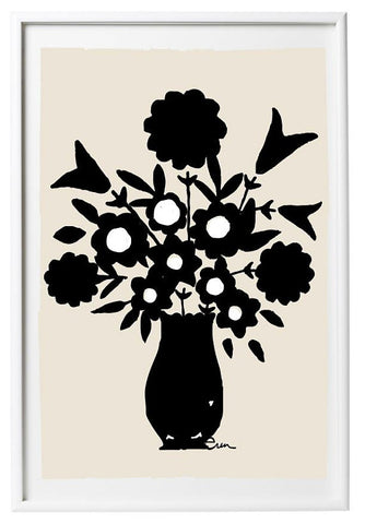 SHIPS NOW! BLACK VASE SPRING FLOWERS GICLEE ART PRINT