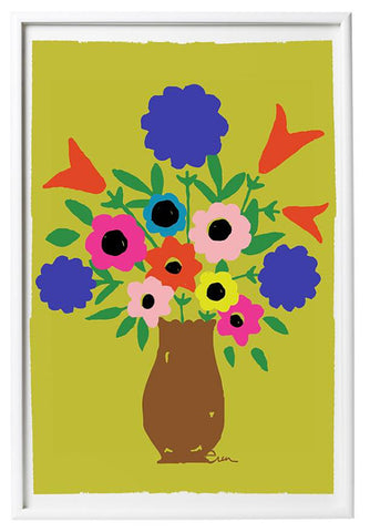 BROWN VASE SPRING FLOWERS GICLEE ART PRINT