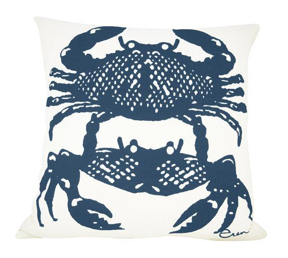 NAVY CRABBIES PILLOW