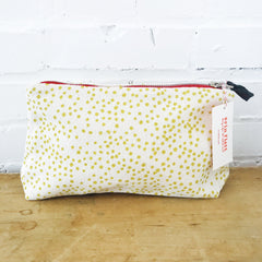 GOLDEN ROD POLKA DOT ZIPPER BAG