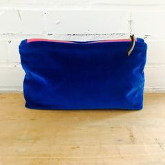 ROYAL BLUE VELVET ZIPPER BAG