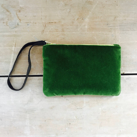 EVERGREEN VELVET ZIPPER BAG