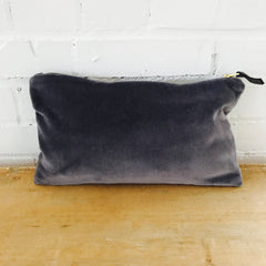 CHARCOAL VELVET ZIPPER BAG