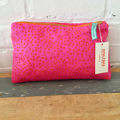 MANGO POLKA DOT ON HOT PINK LINEN ZIPPER BAG