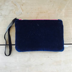 NAVY VELVET ZIPPER BAG