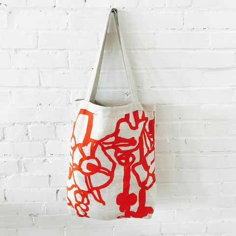 GEORGE TOMATO LINEN CARRY ALL BAG