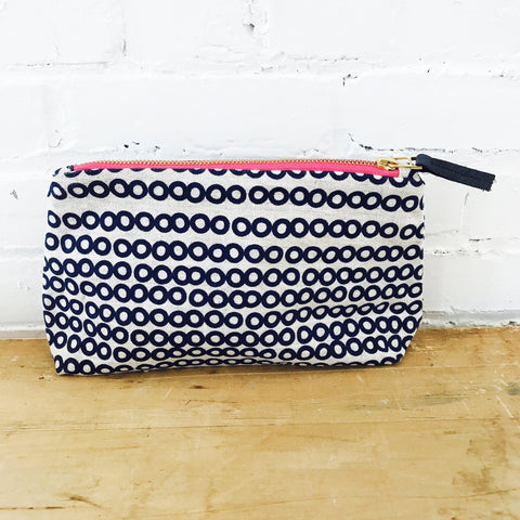 Copy of NAVY DECO DOT ZIPPER BAG