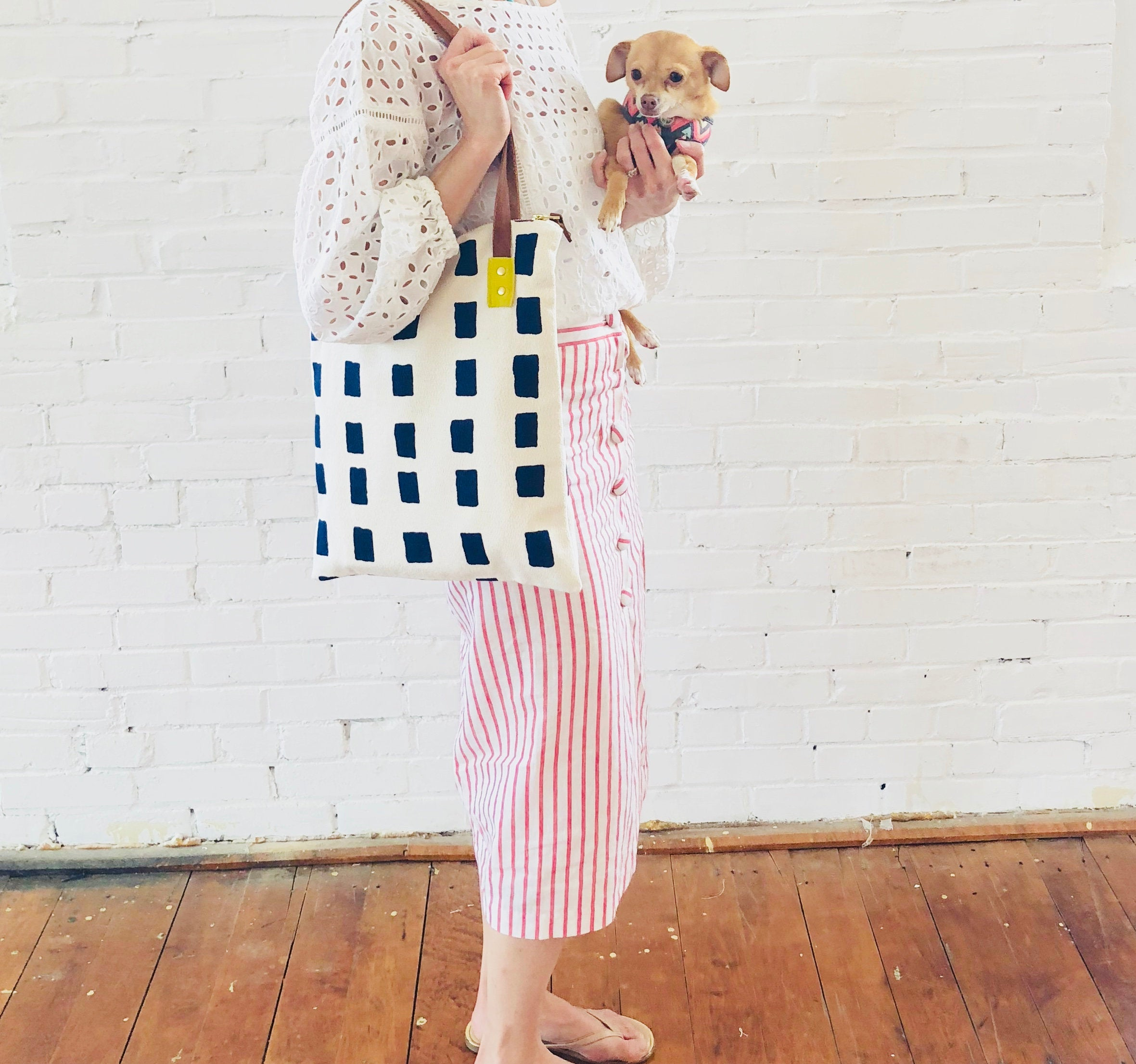 NAVY SQUARES MOD TOTE BAG