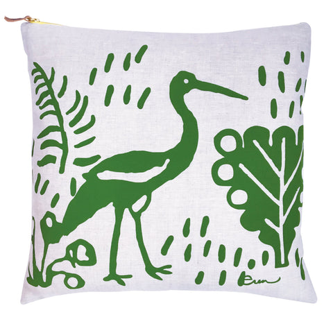 KELLY GREEN CRANE LINEN PILLOW
