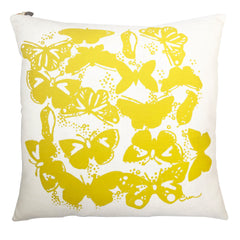 BUTTERFLIES LEMON LINEN PILLOW COVER